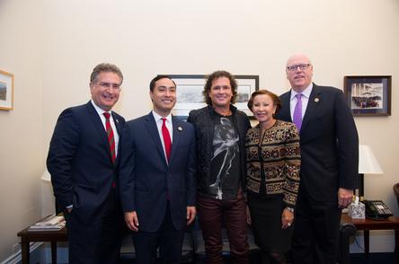 Photo courtesy of Congressman Joaquin Castro's office (from left to right): U.S Congressman Joe Garcia (Florida), U.S. Congressman Joaquin Castro (Texas), Carlos Vives, U.S. Congresswoman Nydia Velázquez (New York), U.S. Congressman Joe Crowley (New York)